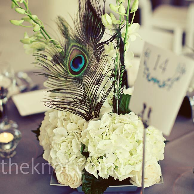 Based off a photo Holly loved, the florist was able to recreate a gorgeous centerpiece with white roses, hydrangeas, and peacock feathers.