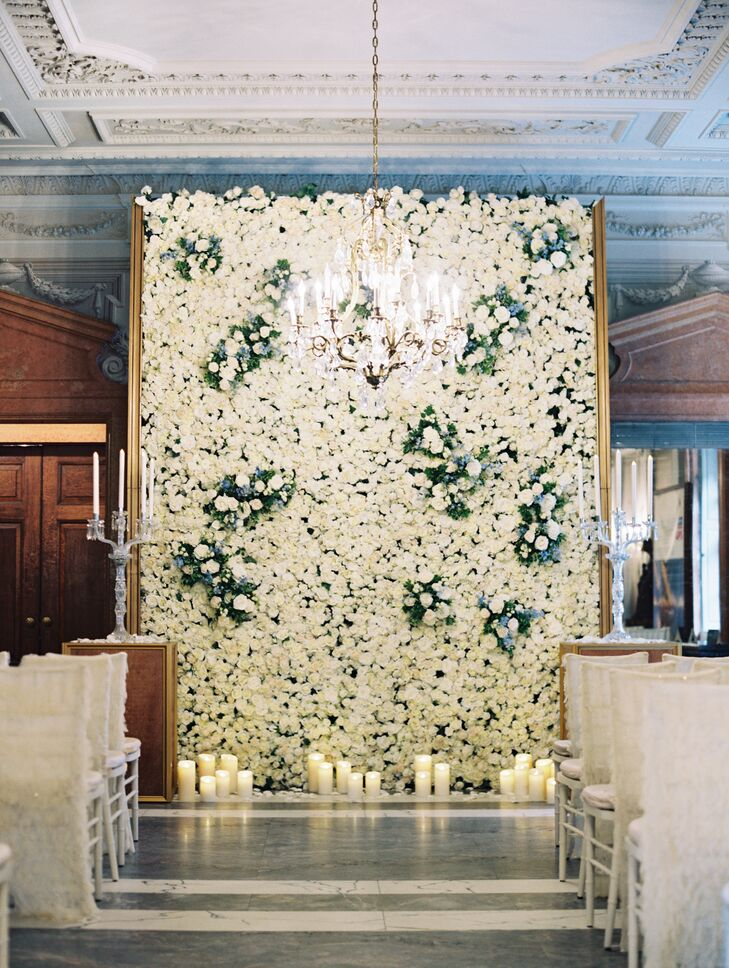 Romantic Ceremony with Ivory Rose Wall and Chandelier