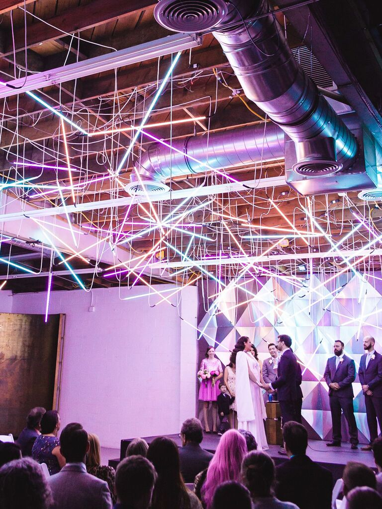 modern neon-light filled wedding ceremony