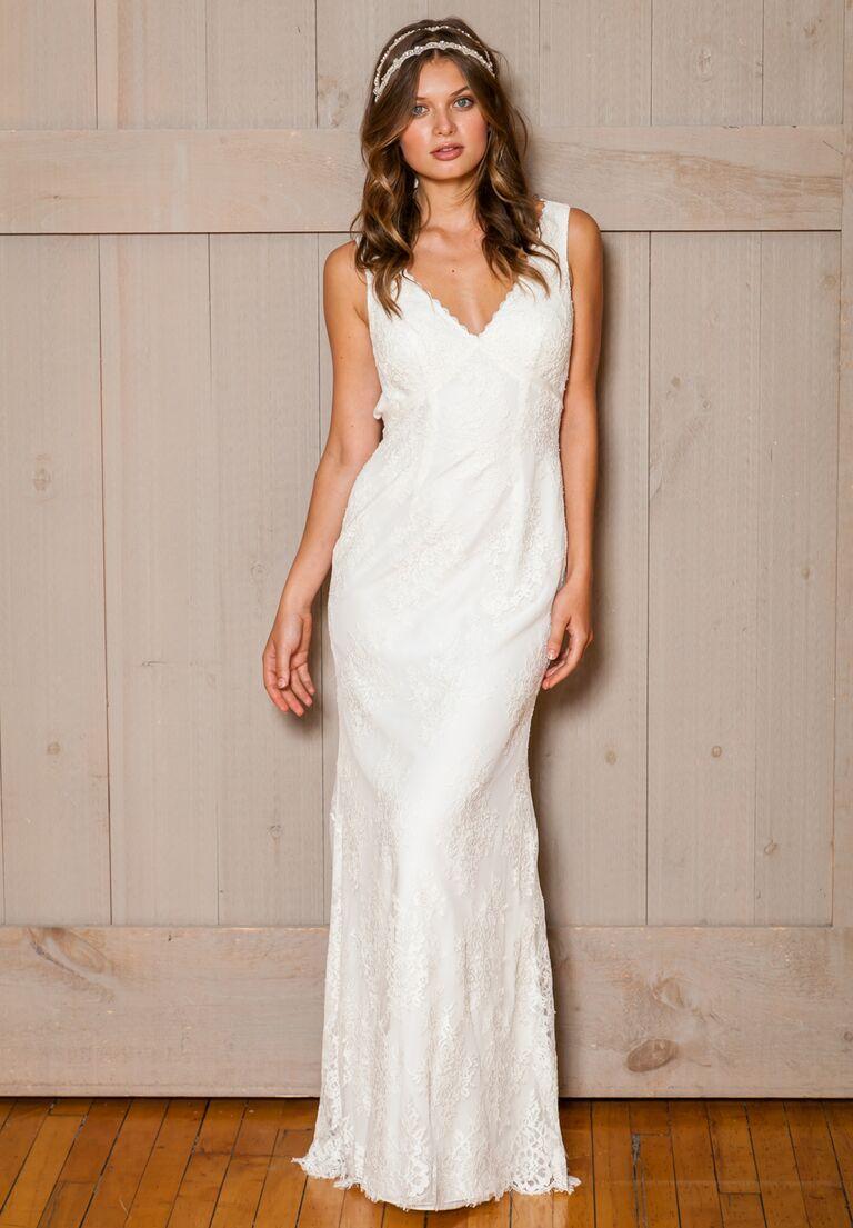 David S Bridal Fall 2016 V Neck Lace Overlay Wedding Dress