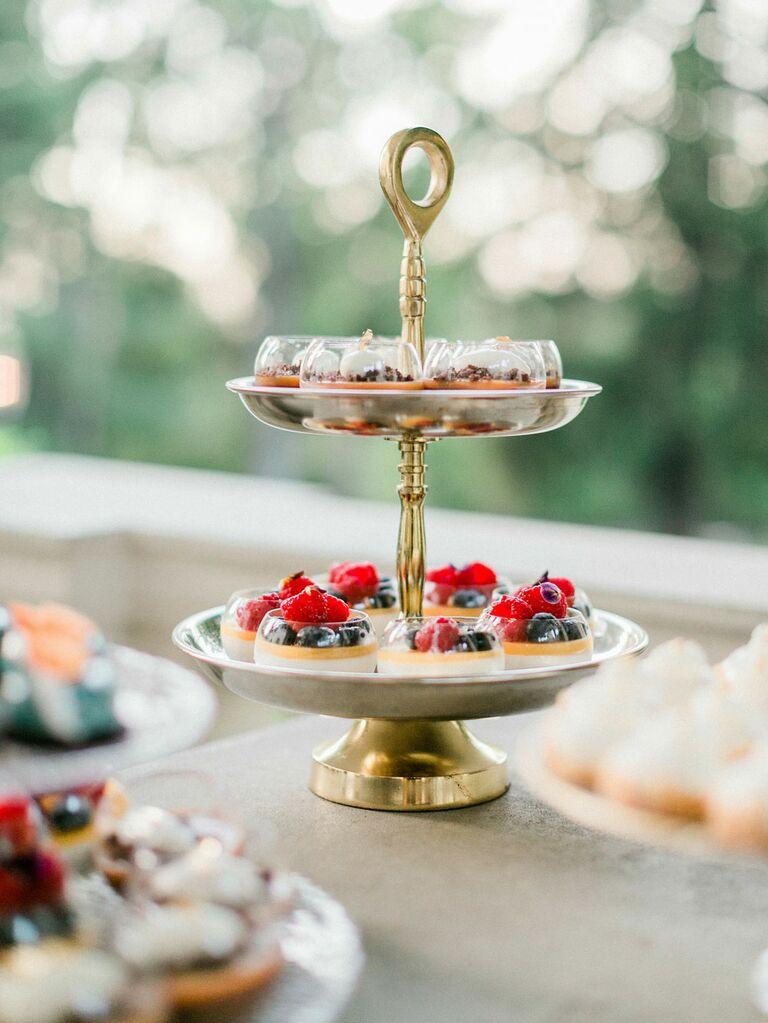 Elegant tea party fruit tart dessert display