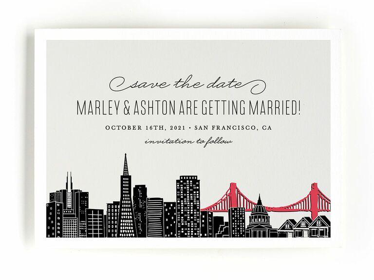 Minted city landmark destination wedding save-the-date