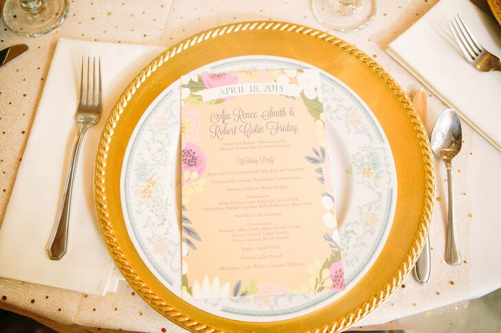 """""""The stationery looked like it was designed for our wedding,"""" the bride says. Floral canopy gold foil-pressed stationery from Minted.com seamlessly fit into the boho garden glitz atmosphere, complete with sparkly gold accents."""