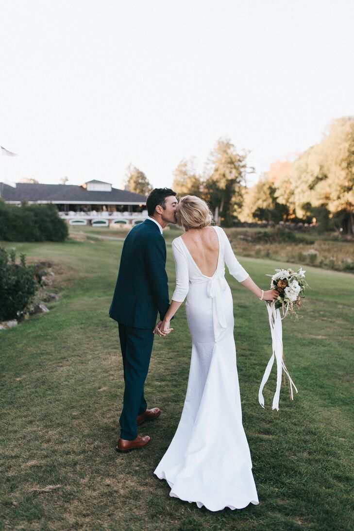 Low-Back and Long-Sleeve Bridal Gown