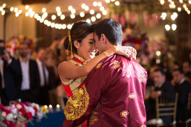 At the indoor reception, guests sat under romantic string lights and dined on kebabs, Peking roast duck, and seafood, which was all followed by a five-course dinner.