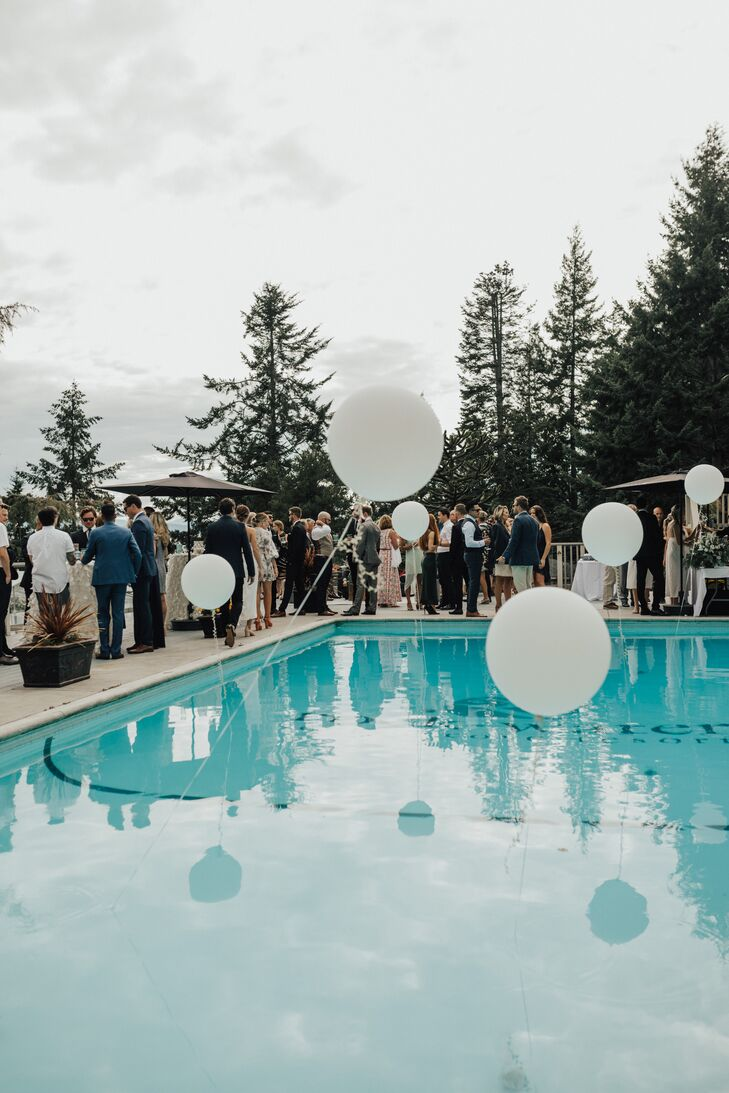 Poolside Cocktail Hour with White Balloons