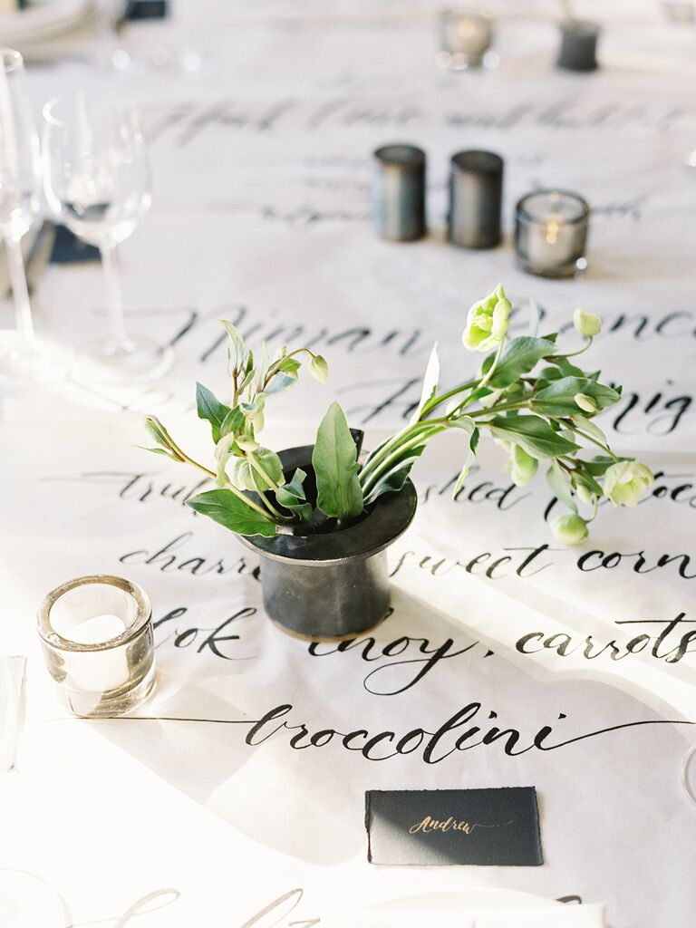 tablecloth creative wedding menu display idea