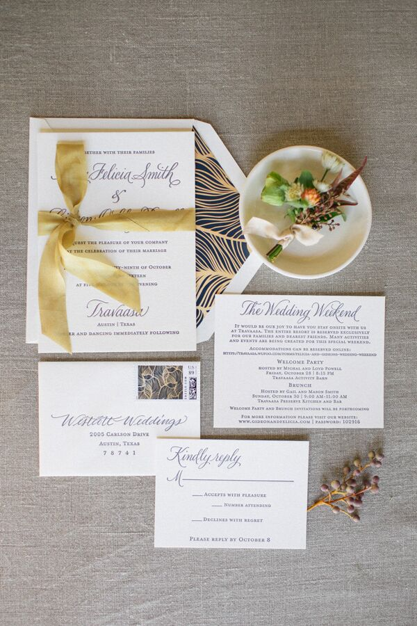 Simple Invitations with Gold Ribbon