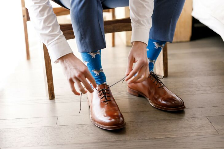 Groom Tying Shoes and Getting Ready for Austin, Texas, Wedding