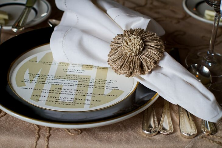 The menu cards were made to fit into the plates on the table for a little modern flair with their otherwise rustic wedding.