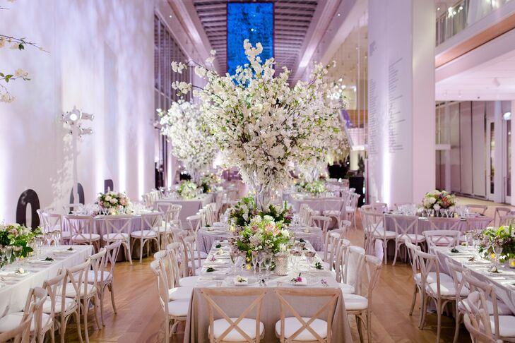 Dramatic White Centerpieces for Wedding Reception at The Chicago Art Institute