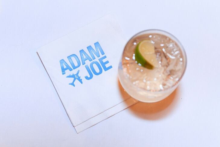 Personalized Airplane-Themed Cocktail Napkin with Modern Typography