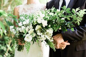 Dramatic Cascading Greenery and White Rose Bouquet