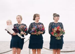Corinne and Whitney's Bridesmaids in Navy Dresse