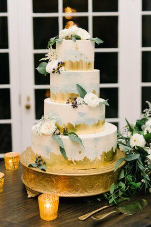 Blue and Gold Brushed Wedding Cake