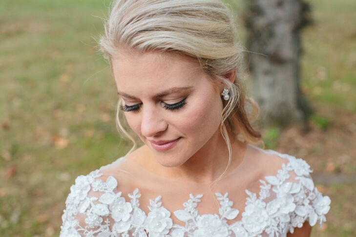 """I wanted to look like myself with a natural look that would carry over well from daytime to evening,"" Gail says of her effortless bridal hair and makeup."