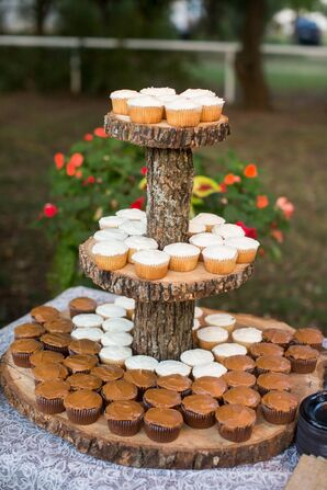 Rustic Cupcake Stand Made from Tree Slices and Branches