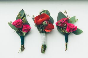 Fuchsia Rose and Red Ranunculus Boutonnieres