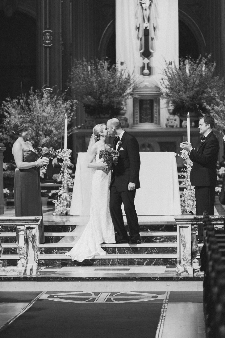 First Kiss on Altar Steps