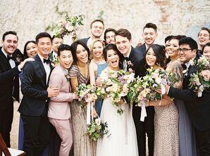 Blush, Black and Gray Wedding Party Attire