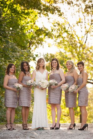 Taupe Bridesmaid Dresses and Black Heels