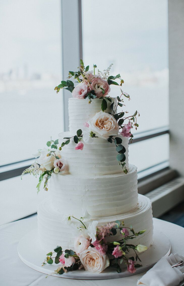 Romantic Tiered Combed Buttercream Cake with Fresh Garden Roses, Sweet Peas and Eucalyptus