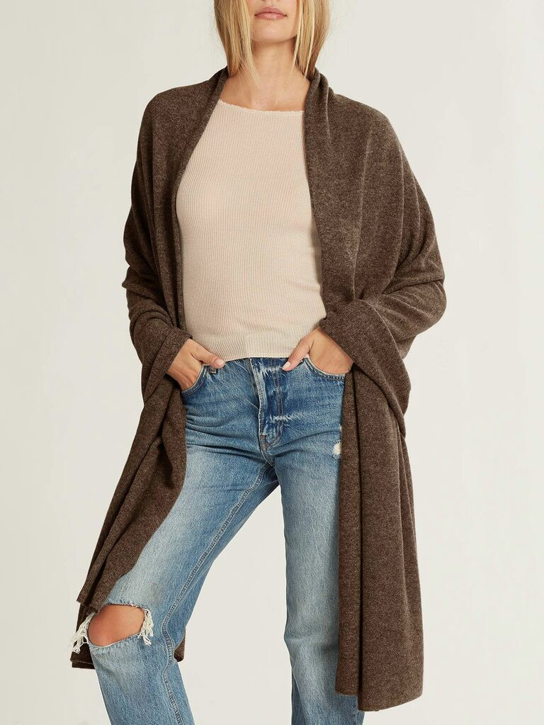 brown long cashmere shawl shown on model