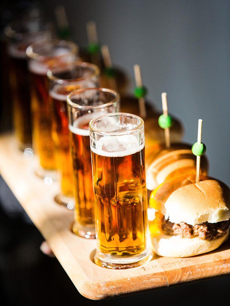 Hamburger slider wedding reception appetizer with beer shots