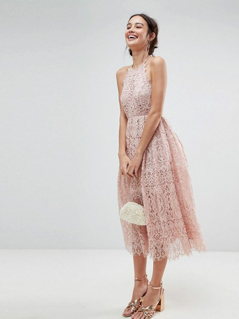 Lace Pinny Scallop Edge Midi Prom Dress