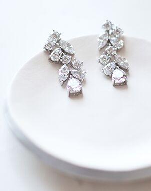 Dareth Colburn Scattered Vine CZ Earrings (JE-4093-S) Wedding Earring photo
