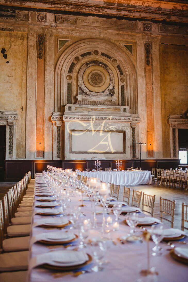 Glamorous White and Gold Wedding Reception at 16th Street Station in Oakland, California