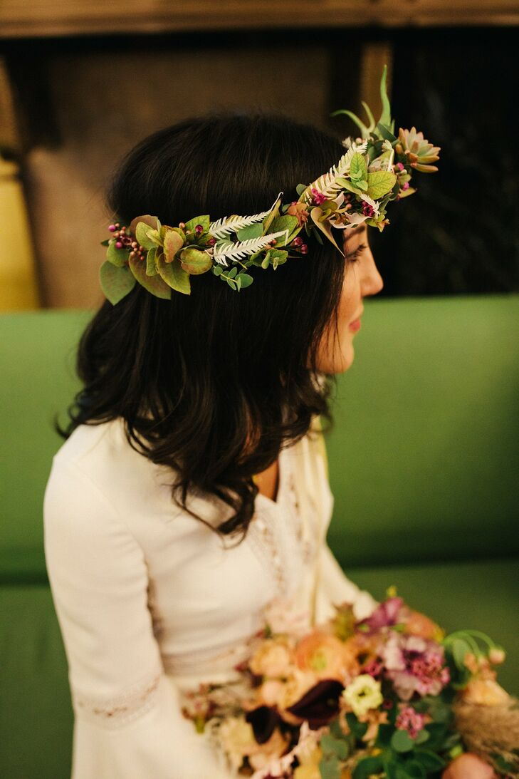 Modern Flower Crown with Leaves and Succulents