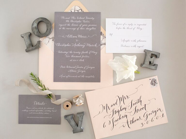 Light pink and gray wedding stationery set