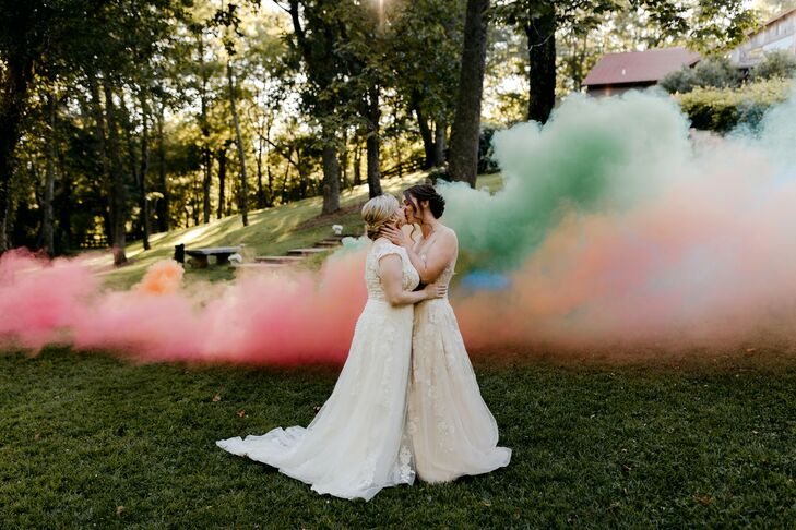 Same-Sex Brides with Smoke Bomb at Rustic North Carolina Wedding