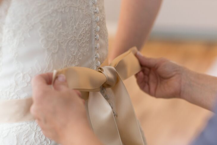Champagne-Colored Satin, Ribbon Sash