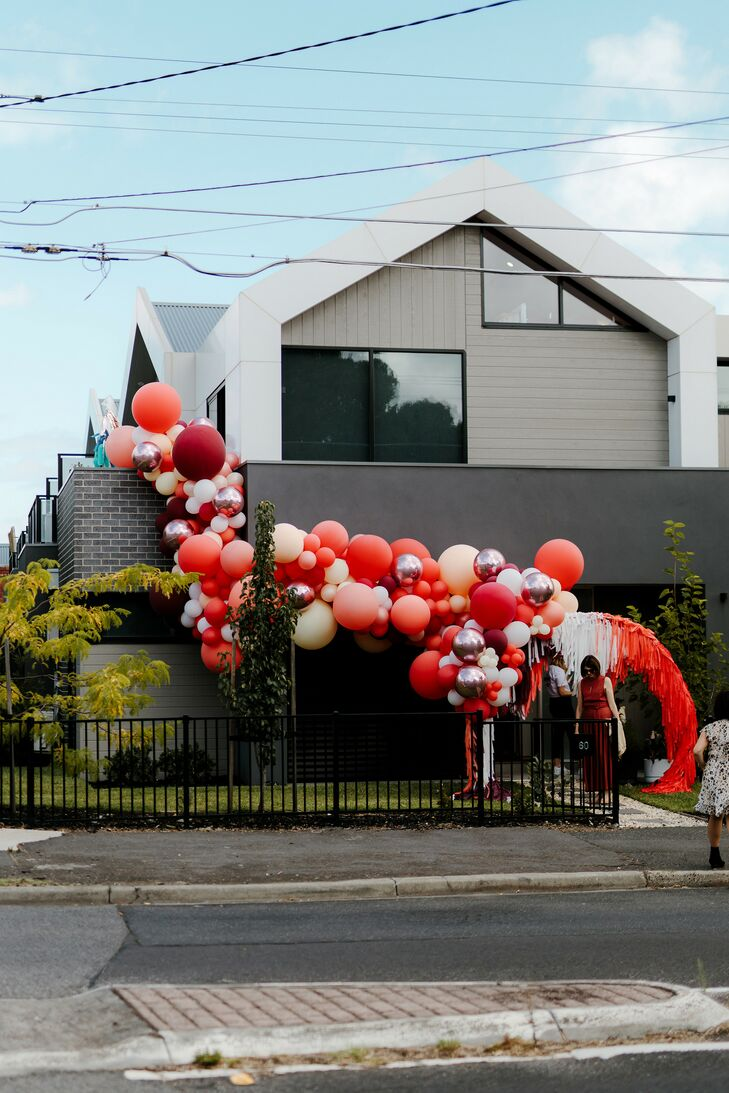 Balloon Installation Outside Venue at Wedding in Australia