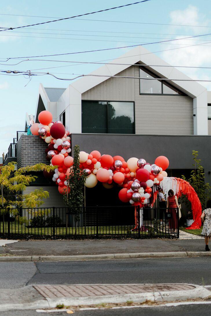 Balloon Installation Outside Venue at Wedding in Australia