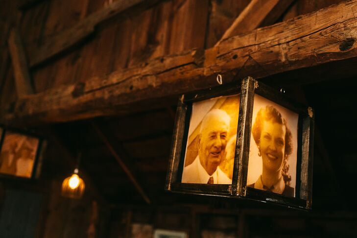 Andrew handmade the family photos lanterns that hung in the barn.