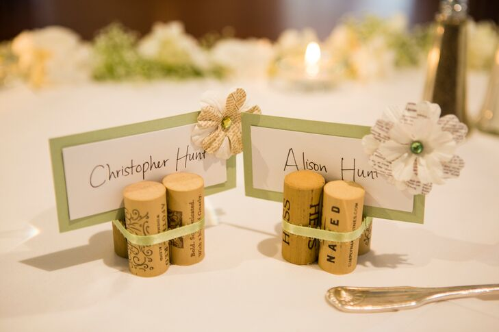 Pale Green and White Place Cards in Wine Corks