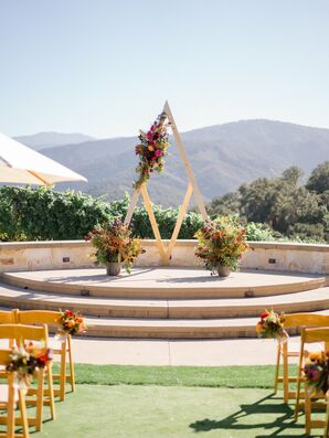 Geometric Wedding Arch with Textured Autumnal Florals