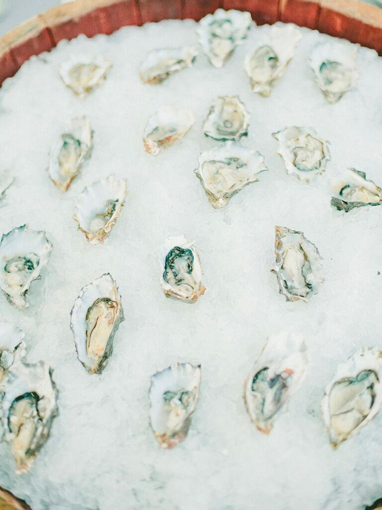 Fresh oyster raw bar for a beach wedding idea