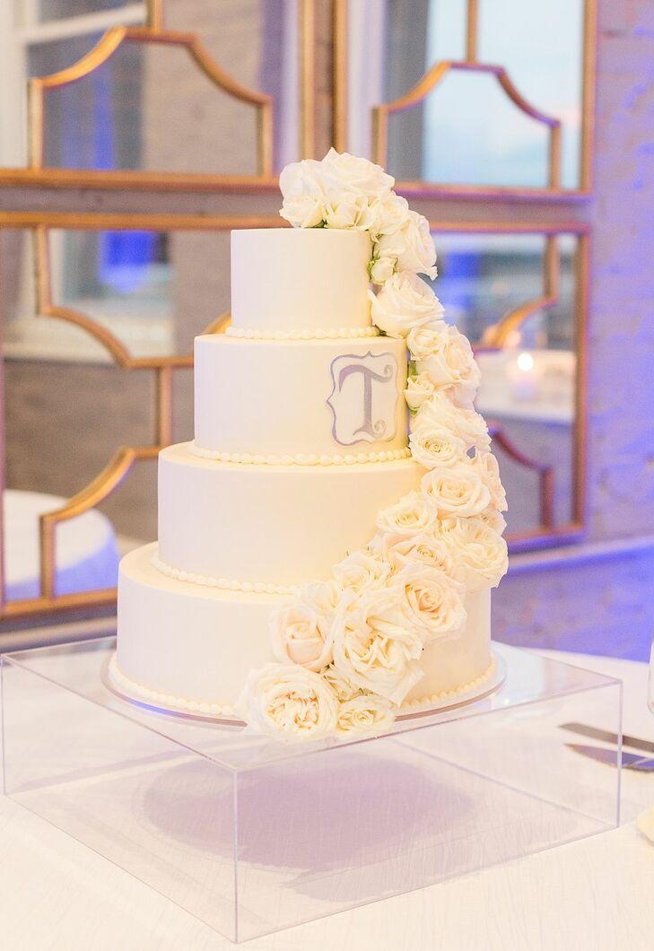 Glam White Wedding Cake at The Faulkner in Jackson, Mississippi