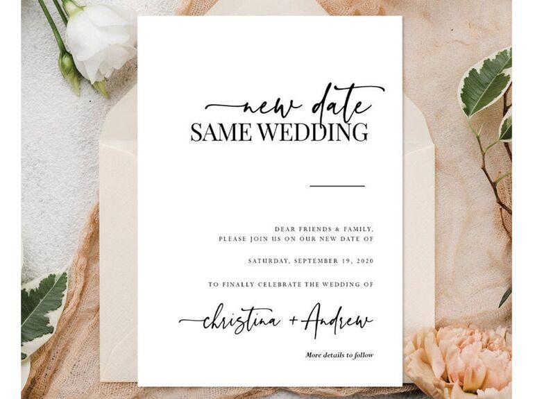 Wedding Postponement Card Etsy