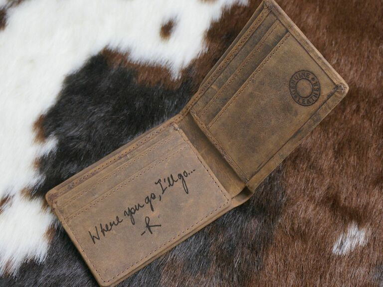 handwriting wallet gift for fiance