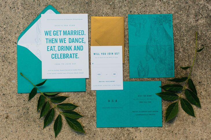 DIY Turquoise Typographic Wedding Invitations