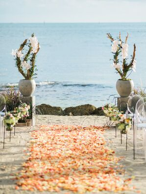 Beach Chic Ceremony with Colorful Rose Petal Aisle