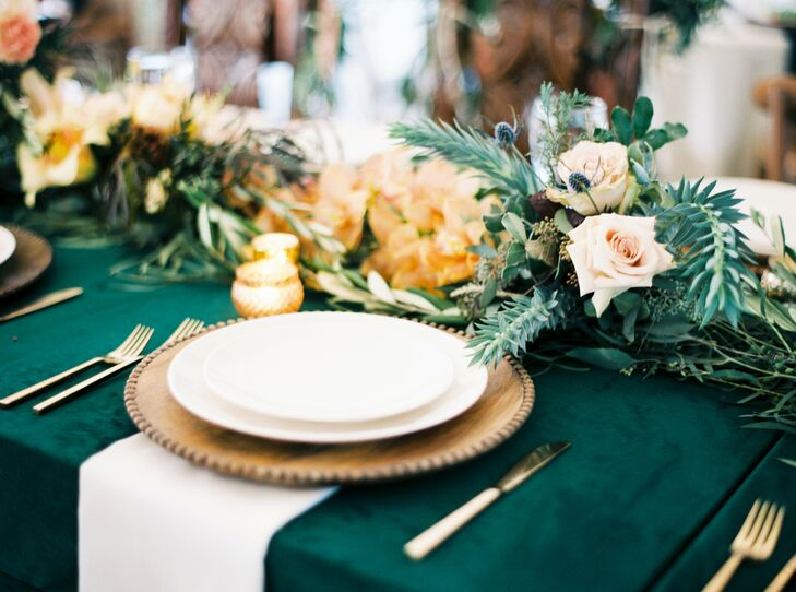 Emerald Tablescape at Marathon, Texas Wedding