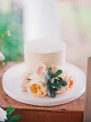 Wedding Cake with Succulent and Rose Accents