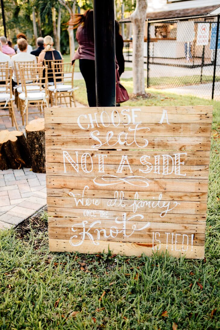 Rustic Wood Welcome Sign with White Calligraphy