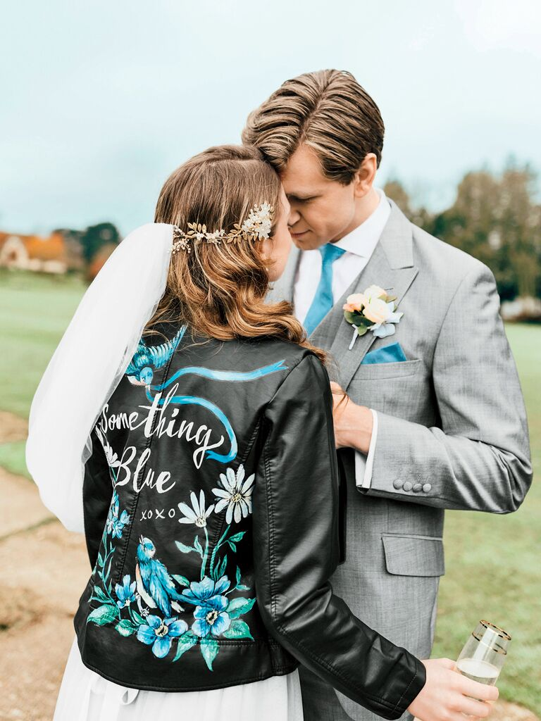 something blue themed custom leather jacket for bride